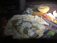 Glamorous meal of fake turkey, hard-boiled egg, and mayonnaise.